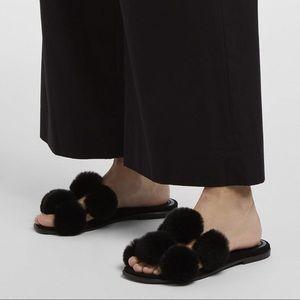 NIB Alexander Wang Ava Rabbit Fur Slides Sandals